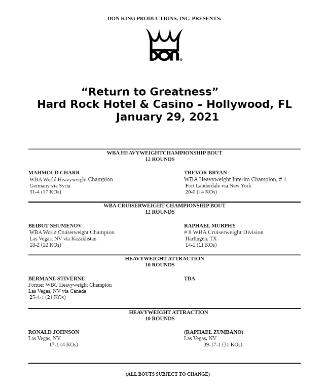 Don King Return to Greatness Bouts